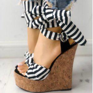 Striped Bowknot Peep-toe Platform Wedge Sandals